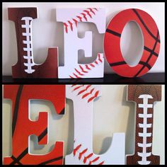 Sports Wooden Letters Nursery Letters Wall by BabeeCakesBoutique