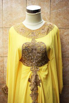 YELLOW moroccan kaftan Dubai style gold embroidery abaya