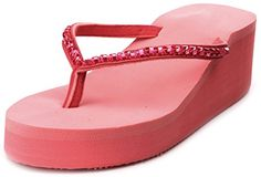 Enimay Womens Summer Platform Heel Flip Flop Sandal with Rhinestone accents Pink Size 10 * Read more  at the image link. (This is an Amazon affiliate link and I receive a commission for the sales and I receive a commission for the sales)