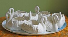 Dessert Bowls shaped as Swans.  White Bisc by AnythingDiscovered