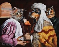 Sylvia Karle Marquet's animal society - Beauty will save Image Chat, Animal Society, Tribal Women, Satyr, Vanitas, Beautiful Paintings, Les Oeuvres, Funny Pictures, Funny Pics