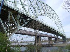 road &  rail bridge crossing mersey/ship canal