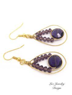 A personal favorite from my Etsy shop https://www.etsy.com/listing/517082024/gold-purple-earrings-purple-earrings #earrings
