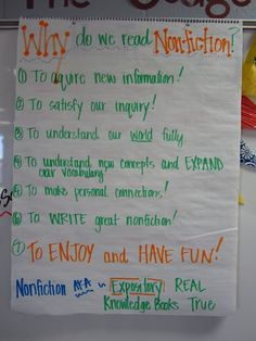 """Why do we read nonfiction?"" anchor chart"