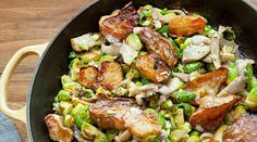 Pan-Roasted Brussels Sprouts, Oyster Mushrooms and Sunchokes with Creamy Meyer Lemon Vinaigrette   #vegetarian