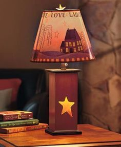 Lamp Table Rustic Country Primitive Decorative Dual Lighting 3 Settings Cut Out