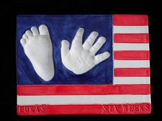 Fourth of July-American Flag baby hand and footprint ceramic plaque. $80.00, via Etsy.