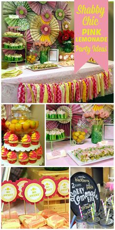 A shabby chic pink lemonade baby shower with a DIY lemonade bar and making fabric flower headbands!  See more party planning ideas at CatchMyParty.com!