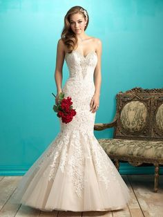 Allure 9266 This gown is simply romantic. It features a classic strapless, sweetheart neckline and gorgeous all-over lace applique. Please contact either stores for pricing and appointment details. De