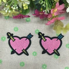 Fashion embroidered  patches for clothing, Cartoon iron on patch,Love heart pink applique patch,hat patch-in Patches from Home & Garden on Aliexpress.com | Alibaba Group