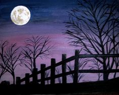 Full Moon Painting - Full Moon Fine Art Print I think I want to add a horse or animal of some kind Moon Painting, Painting & Drawing, Purple Painting, Diy Canvas, Canvas Art, Canvas Prints, Silhouette Painting, Tree Silhouette, Wine And Canvas