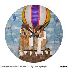 Golden Retriever Hot Air Balloon Pilots Large Clock