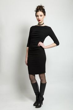 Bodycon dress with gathers and pencil style length skirt. Material: Jersey Made to Order Aw 2014, Pencil, High Neck Dress, Bodycon Dress, Skirts, Collection, Black, Dresses, Style