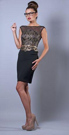 Czarna ołówkowa sukienka z baskinką Sukienka model BAS-743 [219.00zł] - Koronkowe / Sukienki :: M&M Studio Mody