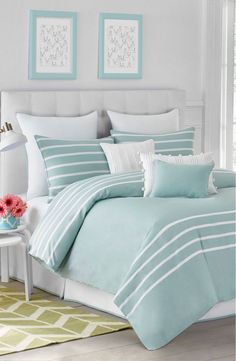 Aqua Blue And White Bedroom bedroom | aqua blue | beach house color palette | home interior