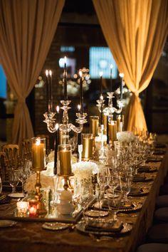 Golden Tablescape with Crystal Candelabra | Photo: Studio This Is. View More: https://www.insideweddings.com/biz/birch-design-studio-ltd-chicago/8867/