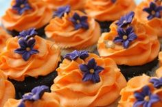 Purple and Orange Cupcakes By Cupcations on CakeCentral.com