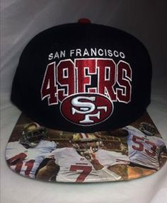San Francisco 49ers Snapback 1 of 3 Authentic Mitchell   Ness Snapback with  Modified Brim-Modified Brim-Personalized Brim Applications 02dee1c0257