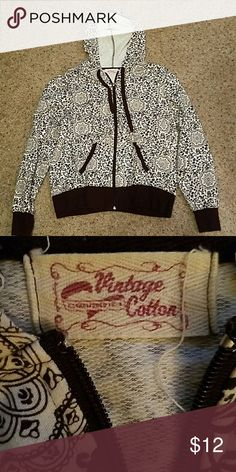 """Hooded Zip Up Jacket Size XL...Brand Vintage Cotton.  Really cute. Color brown and white.  60% cotton, 40% polyester. Armpit to armpit. 23"""" From top of shoulder to bottom 25"""".   EUC. Vintage Cotton Jackets & Coats"""