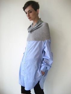 cowl top/ men's shirt bottom