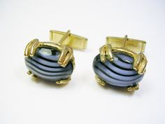 Vintage Cufflinks Striped Agate Stone gold tone by unclesteampunk