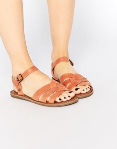 Image 1 ofTOMS Zoe Brown Leather Flat Sandals