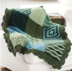 Little Bit of Everything Afghan - Use granny squares made from different crochet stitches, like the crochet cable stitch, to create this fun sample afghan