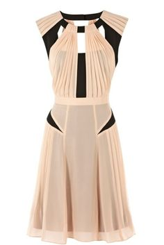 Blush pink & black cut-out dress