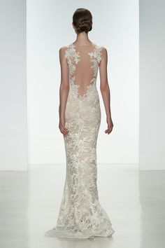 "Amsale Spring 2015 ""Nicole"" gown back. Slim, corded lace gown with silk chiffon underlay and sheer low back lace appliqué. #lace #lowback #illusion"