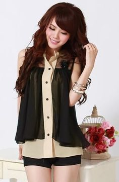 Black Layers Asian Fashion Blouse With Distinctive Flap & Decorative Flower