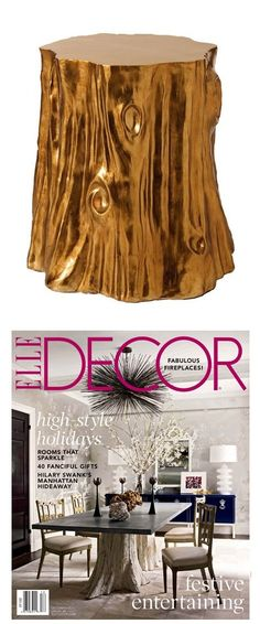 Side Tables, Designer Gold Tree Stump Side Table,  As Featured By Elle Decor Magazine, one of over 3,000 limited production interior design inspirations inc, furniture, lighting, mirrors, tabletop accents and gift ideas to enjoy repin and share at InStyle Decor Beverly Hills Hollywood Luxury Home Decor enjoy & happy pinning