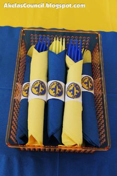 Paper Napkin Ring PRINTABLE for the Blue & Gold Banquet. This site has a lot of great neckerchief slide ideas and also other great Cub Scout Ideas compliments of Akela's Council Cub Scout Leader Training