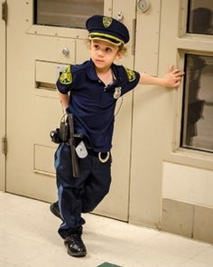 Four-year-old Kajj, who has Wilms tumor, wished to be a 'cop officer'.