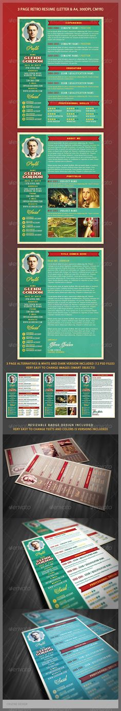 Design Retro Resume Template - http://graphicriver.net/item/retro-resume-template/4669864?ref=cruzine