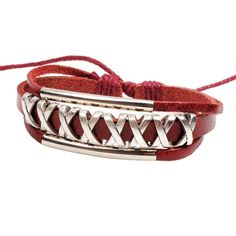 Prime Leader Personality National Wind Contracted Fashion Fresh And Red Bracelet Multilayer Hollow Out Leather Bracelet Pulseira * You can get more details here : Gift for Guys