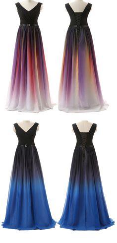 Ombre Custom Made Charming Prom Dress,Formal Dresses,Chiffon Evening Dresses On Sale
