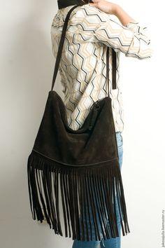 Купить Сумка из натуральной кожи с бахромой из замши замшевая сумка коричнева…