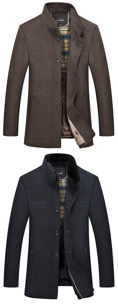 CrazyDay Mens Long-Sleeve Mid-Long Button Pocket Solid Stand Collar Pea Coat