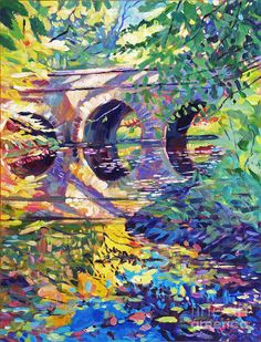 Fauvism, Stone Footbridge Painting by David Lloyd Glover