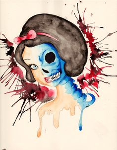 ) macabre of snow white. Made with watercolours ♥ Shadow of the death Disney Fan Art, Disney Love, Snow White Tattoos, Dark Disney, Disney Magic, Twisted Disney, Cool Art Projects, To Infinity And Beyond, Disney Tattoos