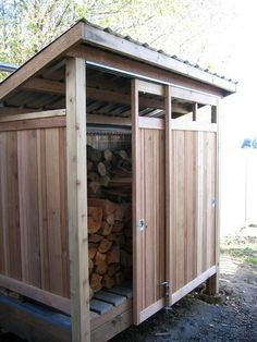 Smart ways to store wood for the fireplace this winter! Modern Garage And Shed by Cedarcraft construction LLC #modernyardfireplaces