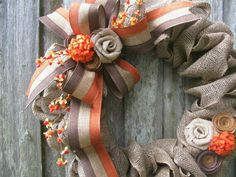 Love the burlap rosettes and this ribbon is amazing!