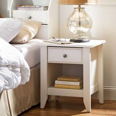 Features:  -Open shelf provides additional storage.  -Weight capacity: 50 lbs.  -Revere collection.  Frame Material: -Manufactured wood.  Top Material: -Manufactured wood.  Hardware Finish: -Nickel.