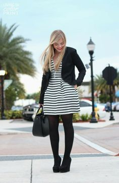 Black and white stripes cute dress with black coat and black leather plan hand bag and black legging and black warm pumps