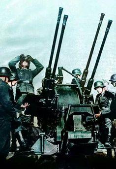 German flak guns protect the river crossings