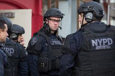 New York City police officers participate in an active shooter drill, Nov. 22, 2015, in New York City