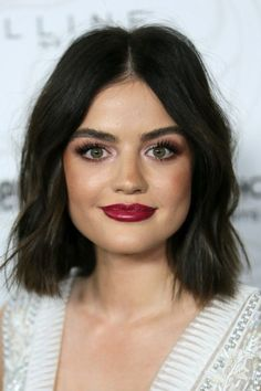 39 New Ideas Hair Color Ideas For Brunettes Lob Lucy Hale Lucy Hale Haircut, Lucy Hale Short Hair, Hair Color And Cut, Cool Hair Color, Luci Hale, Brunette Lob, Celebrity Hairstyles, Hair Dos, Dark Hair