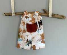Handmade baby clothes. Handmade baby boy romper.