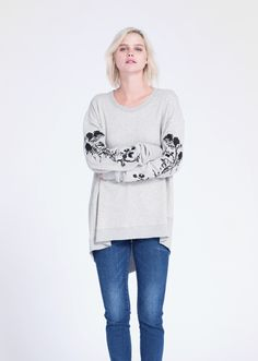 Oversize Back-slant Sweatshirt W/ Black Rose. In our cozy french terry fabric. Made in the USA.