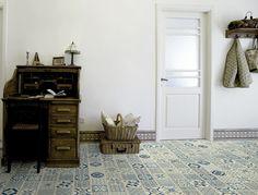 rouleau pvc imitation carreaux de ciment gerflor texline 1956 provence ocre bricoflor. Black Bedroom Furniture Sets. Home Design Ideas
